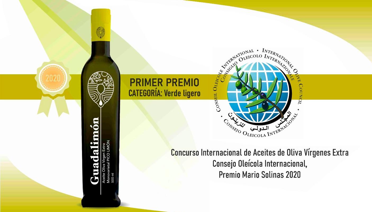 PRIMER PREMIO CONCURSO INTERNACIONAL DE ACEITE DE OLIVA VIRGEN EXTRA - PREMIO MARIO SOLINAS 2020