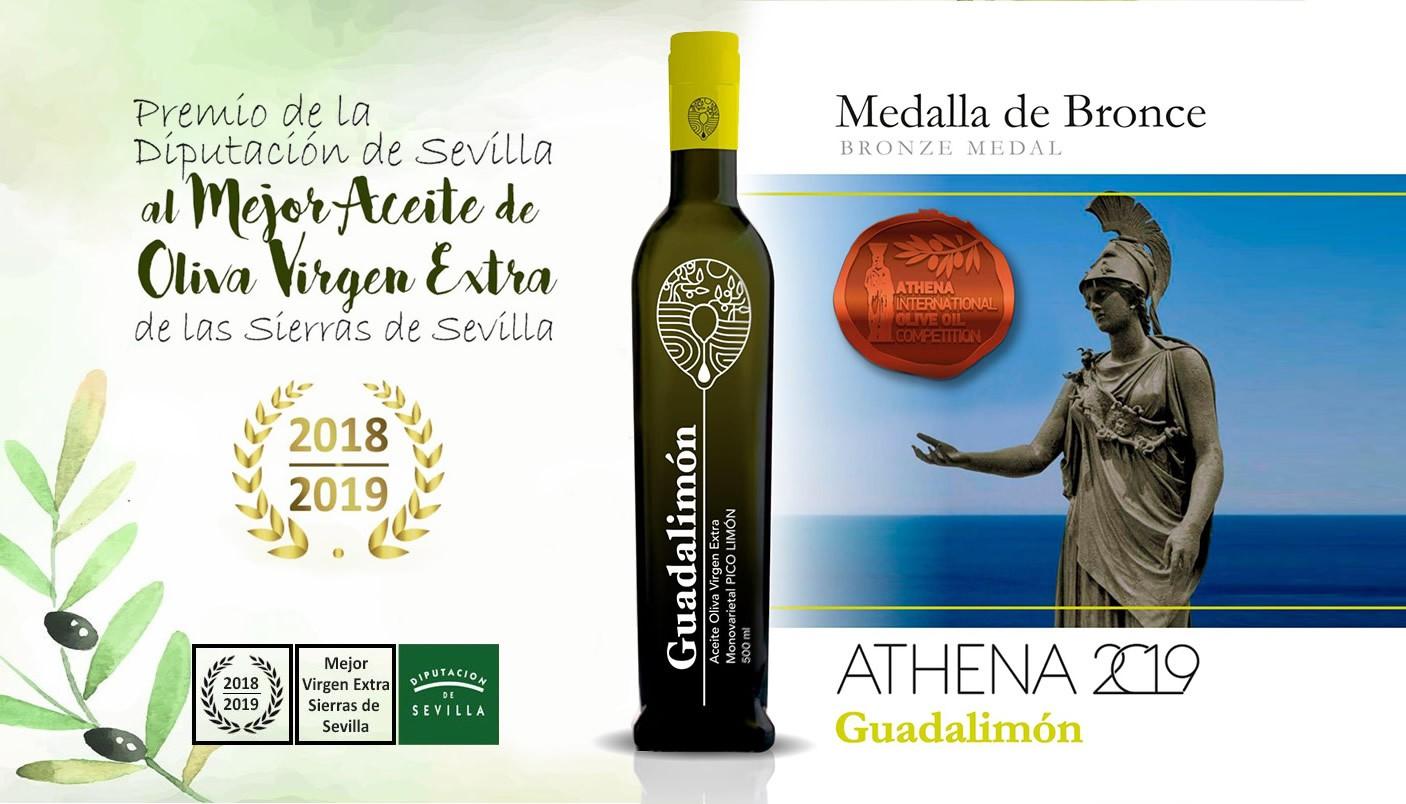 Premio de la Diputación de Sevilla al mejor Aceite de Oliva Virgen Extra de las Sierras de Sevilla.  Campaña 2018 / 2019 y Medalla de Bronce  Athena 2019