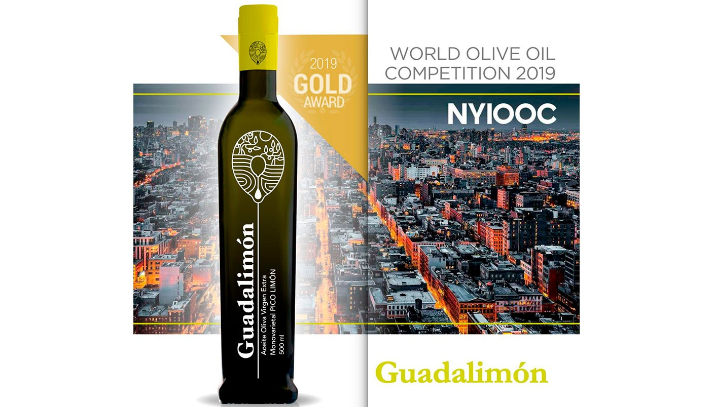 Medalla de oro en NYIOOC, Concurso Internacional de Aceite de Oliva Virgen Extra celebrado en Nueva York.
